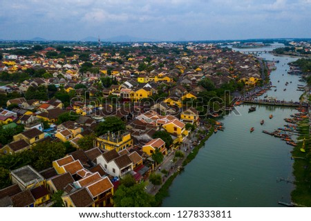 Aerial view of Hoi An old town of Vietnam