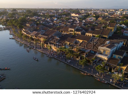 Aerial view of Hoi An old town or Hoian ancient town. Royalty high-quality free stock photo image of Hoi An old town. Hoi An is UNESCO world heritage, one of the most popular destinations in Vietnam #1276402924