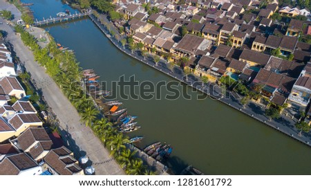 Aerial view of Hoi An old town or Hoian ancient town. Royalty high-quality free stock photo image of Hoi An old town. HoiAn is UNESCO world heritage, one of the most popular destinations in Vietnam #1281601792