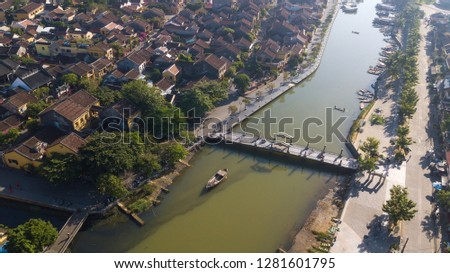 Aerial view of Hoi An old town or Hoian ancient town. Royalty high-quality free stock photo image of Hoi An old town. HoiAn is UNESCO world heritage, one of the most popular destinations in Vietnam #1281601795