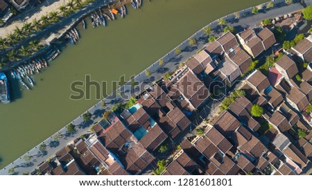 Aerial view of Hoi An old town or Hoian ancient town. Royalty high-quality free stock photo image of Hoi An old town. HoiAn is UNESCO world heritage, one of the most popular destinations in Vietnam #1281601801