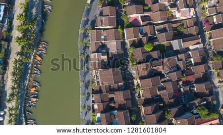 Aerial view of Hoi An old town or Hoian ancient town. Royalty high-quality free stock photo image of Hoi An old town. HoiAn is UNESCO world heritage, one of the most popular destinations in Vietnam #1281601804