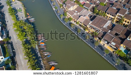 Aerial view of Hoi An old town or Hoian ancient town. Royalty high-quality free stock photo image of Hoi An old town. HoiAn is UNESCO world heritage, one of the most popular destinations in Vietnam #1281601807