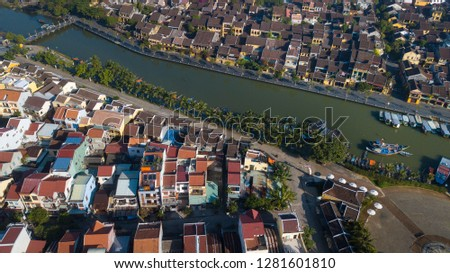 Aerial view of Hoi An old town or Hoian ancient town. Royalty high-quality free stock photo image of Hoi An old town. HoiAn is UNESCO world heritage, one of the most popular destinations in Vietnam #1281601810