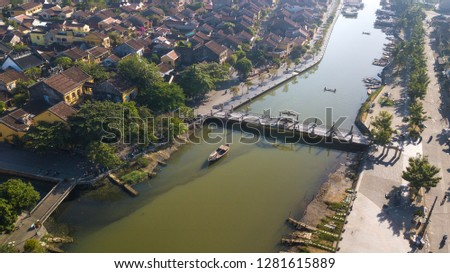 Aerial view of Hoi An old town or Hoian ancient town. Royalty high-quality free stock photo image of Hoi An old town. Hoi An is UNESCO world heritage, one of the most popular destinations in Vietnam #1281615889