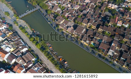 Aerial view of Hoi An old town or Hoian ancient town. Royalty high-quality free stock photo image of Hoi An old town. Hoi An is UNESCO world heritage, one of the most popular destinations in Vietnam #1281615892