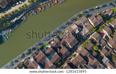 Aerial view of Hoi An old town or Hoian ancient town. Royalty high-quality free stock photo image of Hoi An old town. Hoi An is UNESCO world heritage, one of the most popular destinations in Vietnam #1281615895