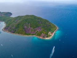 Aerial view of Hon Mun Island or Coral Bay, at Nha Trang Bay, Khanh Hoa, Vietnam. is the most beautiful island in Nha Trang, the region with the most corals and marine species in Southeast Asia