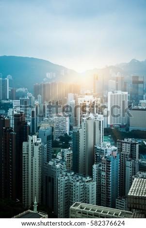 aerial view of Hong Kong apartment block in China. #582376624