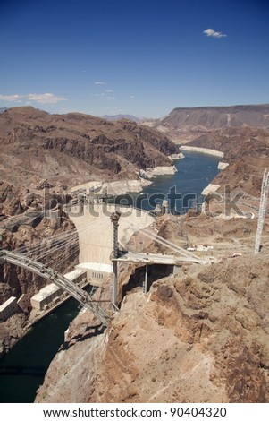Aerial view of Hoover dam and lake Mead in the background