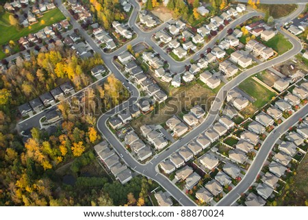Aerial view of houses and suburban streets in autumn