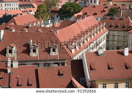 Aerial view of houses in Praha, capital city of the Czech Republic