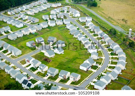 Aerial view of housing development in Charlotte, North Carolina