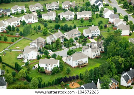 Aerial view of housing development in North Carolina