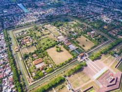 Aerial view of Hue Citadel and view of Hue city, Vietnam. Emperor palace complex, Hue Province, Vietnam