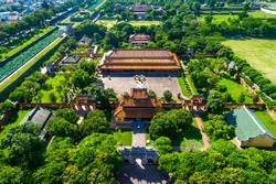 Aerial view of Hung temple and The temple in the Hue Citadel, Vietnam. Imperial Palace moat,Emperor palace complex, Hue Province, Vietnam