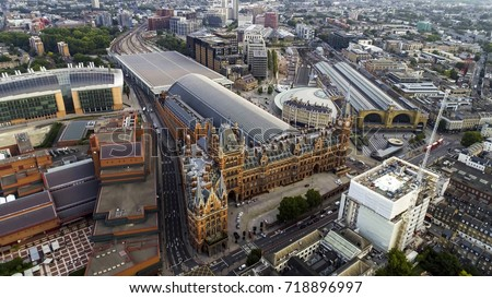 Aerial View of Iconic Architecture and Landmark Kings Cross and St Pancras Railway Stations in London, UK #718896997