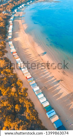 Aerial View of Iconic Bathing Boxes at Brighton Beach, Melbourne Australia