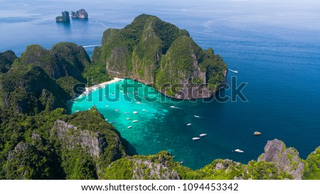 Aerial view of iconic tropical Maya Bay,Phi Phi islands, Thailand #1094453342