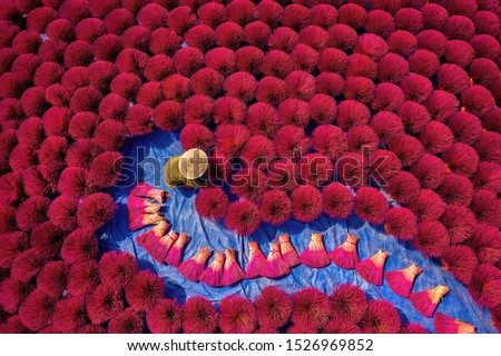 Aerial view of Incense sticks drying outdoor with Vietnamese woman wearing conical hat in north of Vietnam. Royalty high quality free stock image from above
