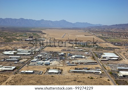 Aerial view of Industrial Park, freeway and future Outlet Mall site