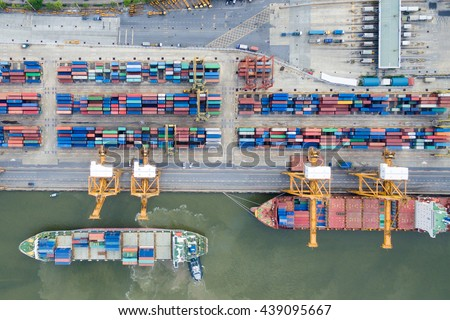 Aerial view of Industrial shipping port in Thailand. #439095667