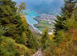 Aerial view of Interlaken town and and Lake Brienz from funicular on Harder Kulm, Switzerland.
