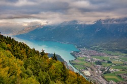 Aerial view of Interlaken town and and Lake Brienz from view point  at Harder Kulm.  Switzerland.