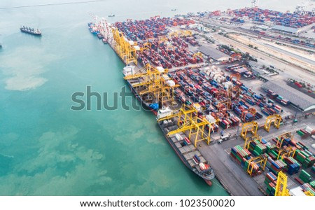 aerial view of international port storage cargo container for transhipment to worldwide under services of logistics system