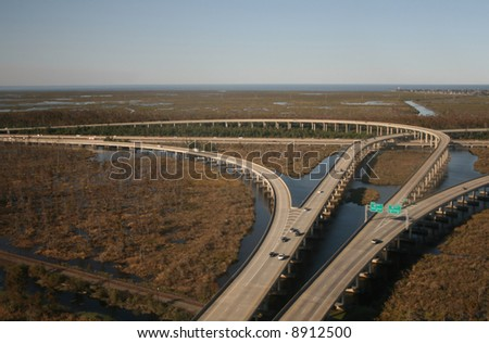 Aerial view of interstate 10 junction near New orleans