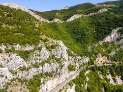 Aerial view of Iskar River Gorge, Balkan Mountains, Bulgaria