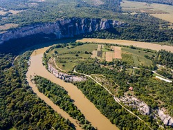 Aerial view of Iskar river, passing near village of Karlukovo, Balkan Mountains, Bulgaria