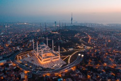 Aerial view of Istanbul and Camlica Mosque. Çamlıca is the most beautiful hill in Istanbul. The biggest building of this hill is the Camlica Mosque at night in Istanbul Turkey camlica camii