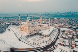 Aerial view of Istanbul and Camlica Mosque. Çamlıca is the most beautiful hill in Istanbul. The biggest building of this hill is the Camlica Mosque at winter in Istanbul Turkey