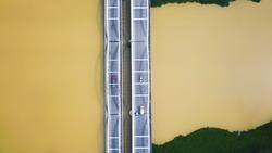 Aerial view of Jambatan Merdeka or Merdeka Bridge at Penang-Kedah border crossing the Muda river.