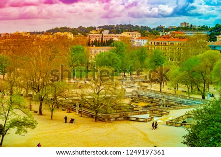 Aerial view of Jardin de la fontaine park and avenue Jean Jaures in Nimes France Photo stock ©