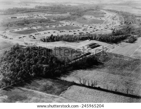 Aerial view of Jersey Homesteads, was one of ninety-nine communities created by New Deal programs. Hightstown, New Jersey, ca. 1937.
