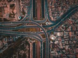 Aerial view of Jhal Chowk Interchange, Faisalabad.