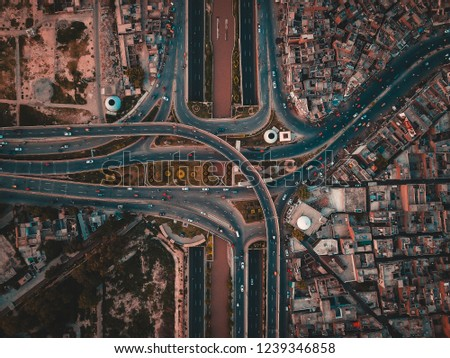 Aerial view of Jhal Chowk Interchange, Faisalabad.