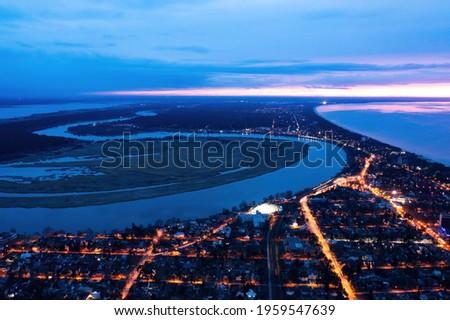 Aerial view of Jurmala along Lielupe river sunset twilight Foto d'archivio ©