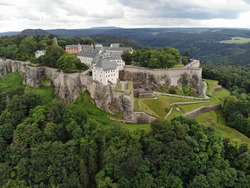 Aerial view of Königstein Fortress the