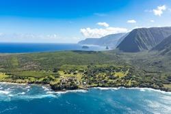 Aerial View of Kalaupapa National Historic Park,Kalaupapa,  Molokai, Hawaii, USA