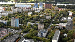 Aerial view of Kapotnya, the cheapest real estate district of Moscow, Russia