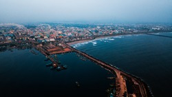 Aerial View of Kasimedu area in Chennai. Top view of Kasimedu Fishing Harbour.