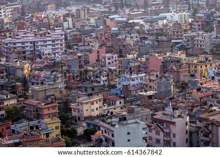 Aerial view of Kathmandu city, Kathmandu is the capital of Nepal.