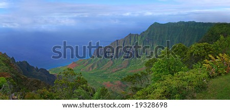 Aerial View of Kauai Hawaii Coastline With Bright Colors