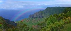 Aerial View of Kauai Hawaii Coastline With Bright Rainbow