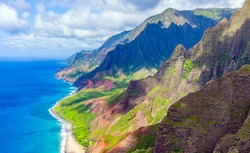 Aerial view of Kauai's rugged, remote Na Pali Coast, located on the western side of Kauai, Hawaii, accessible only by air or by sea