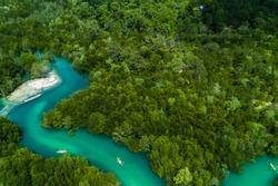 aerial view of kayaking along the mangrove forest of Ko Payam, Ranong, Thailand