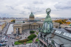 Aerial view of Kazan Cathedral in clear autumn day, a copper dome, gold cross, colomns, Nevsky prospect, Zinger's Building, Griboyedov Canal, staff apartments vk.com, vkontakte